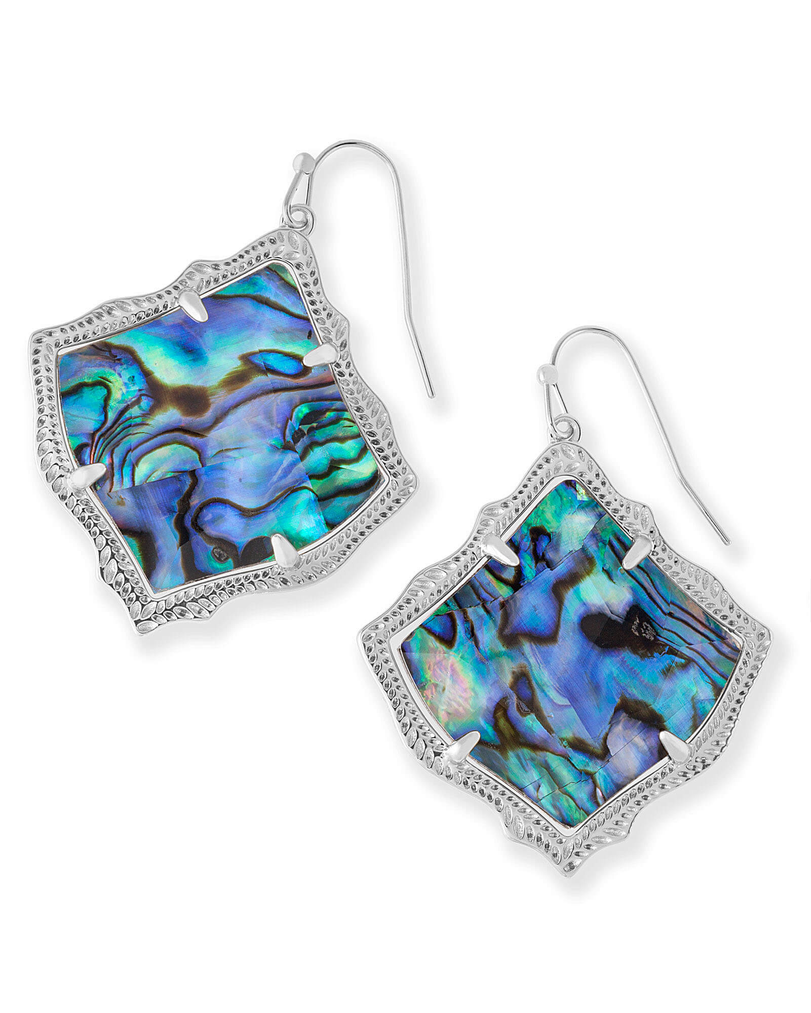 Kirsten Silver Drop Earrings in Abalone Shell
