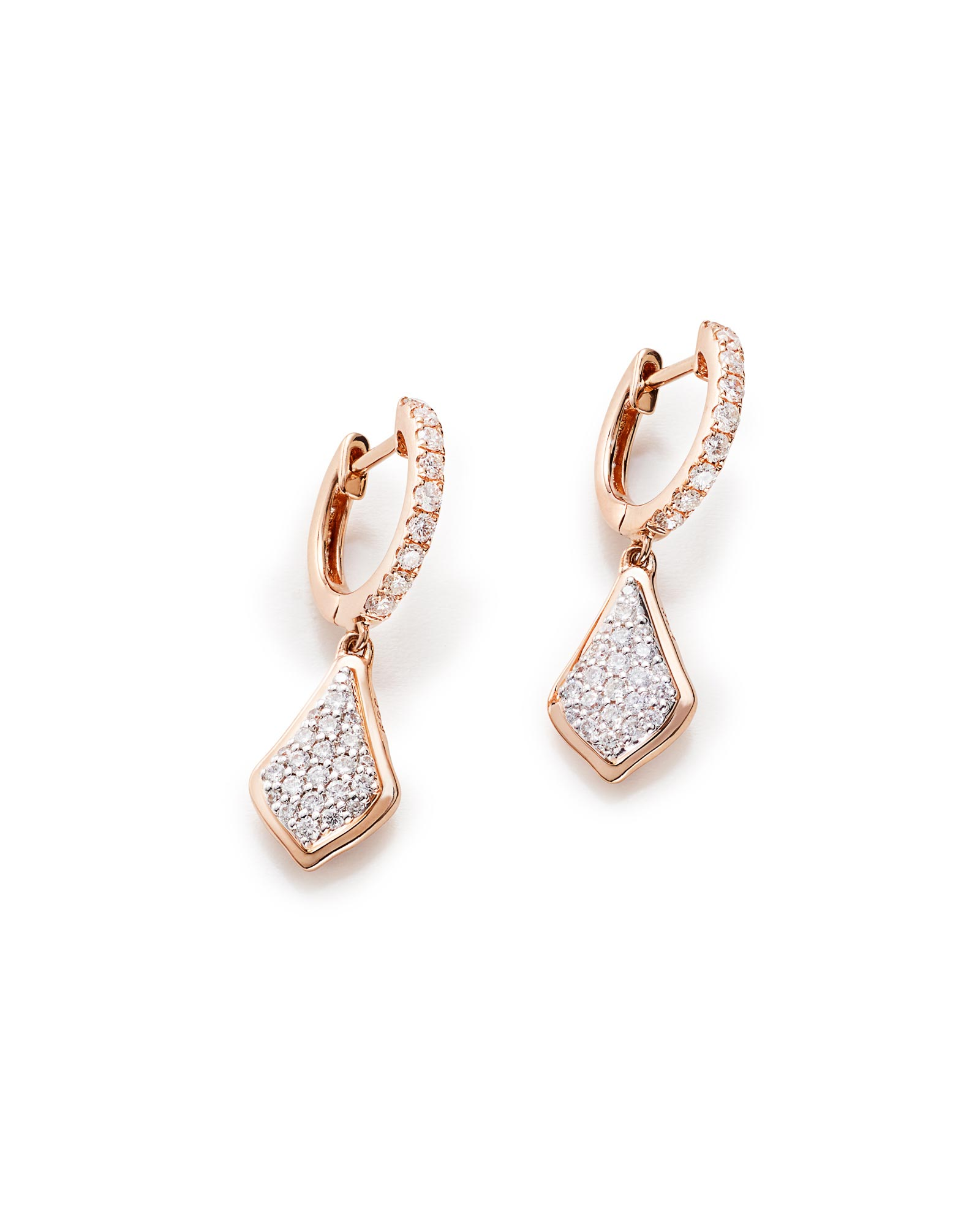 Luella Drop Earrings in Pave Diamond and 14k Rose Gold