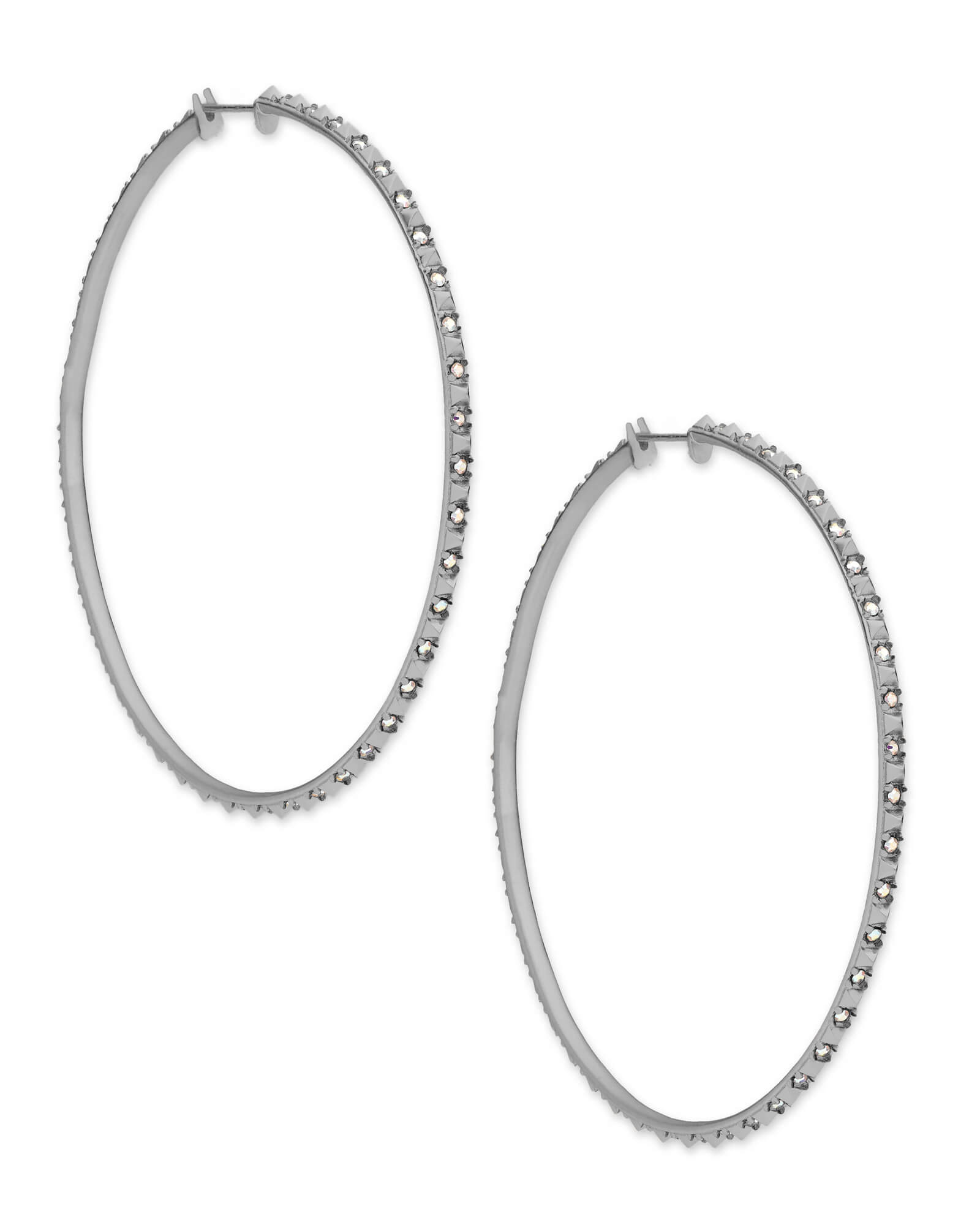 non x loading image itm hoop pierced earrings rhodium plated is silver