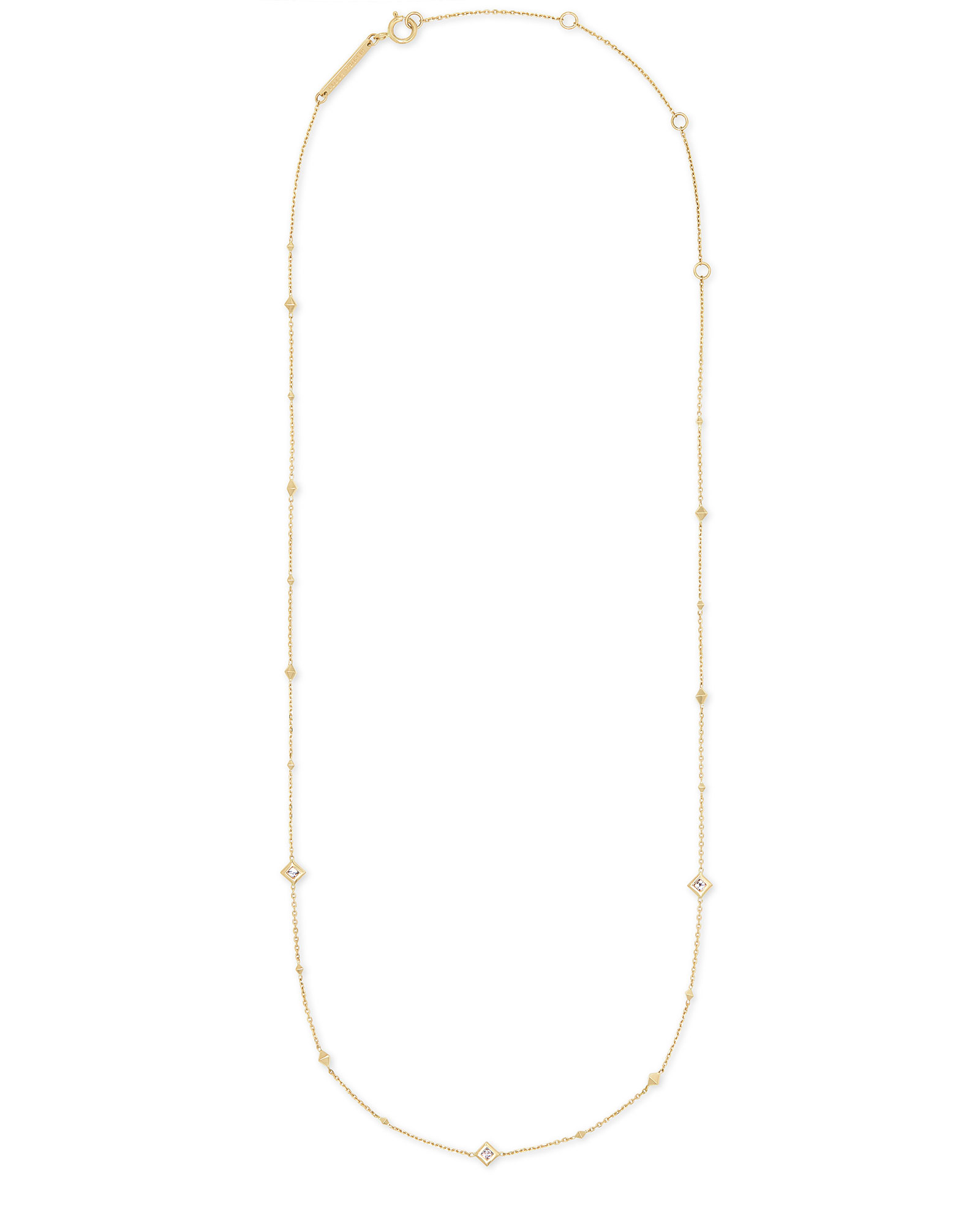 Michelle 14k Yellow Gold Strand Necklace in White Diamond