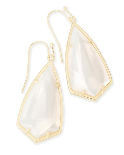 Carla Drop Earrings in White Pearl