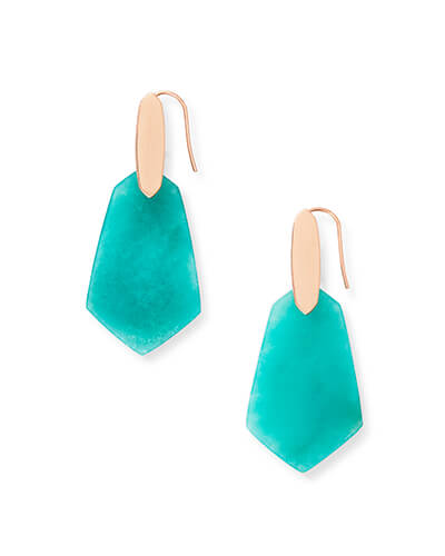 Camila Rose Gold Drop Earrings in Teal Quartzite