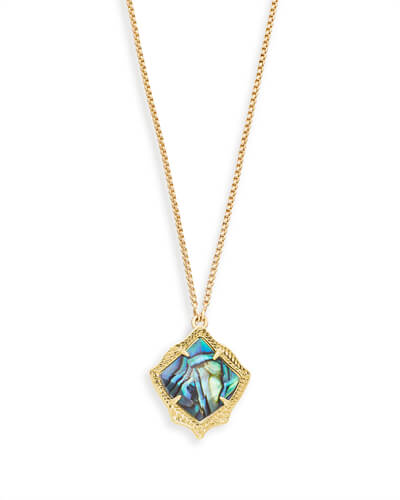 Kacey Gold Long Pendant Necklace in Abalone Shell