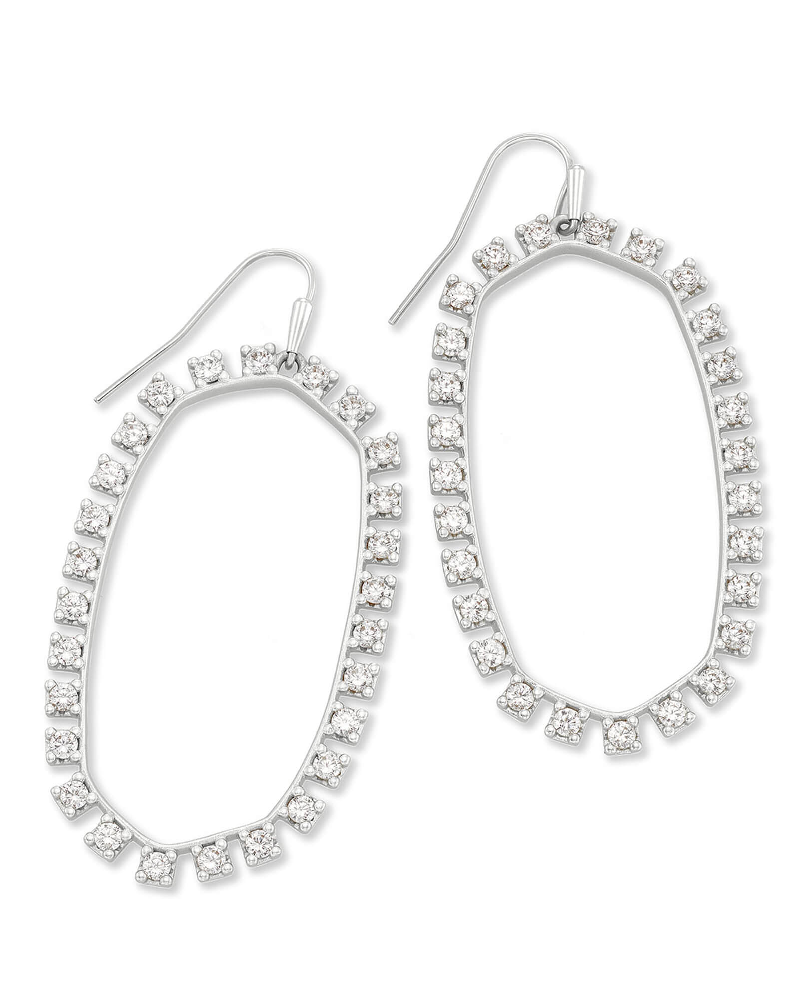 Danielle Open Frame Crystal Statement Earrings in Silver