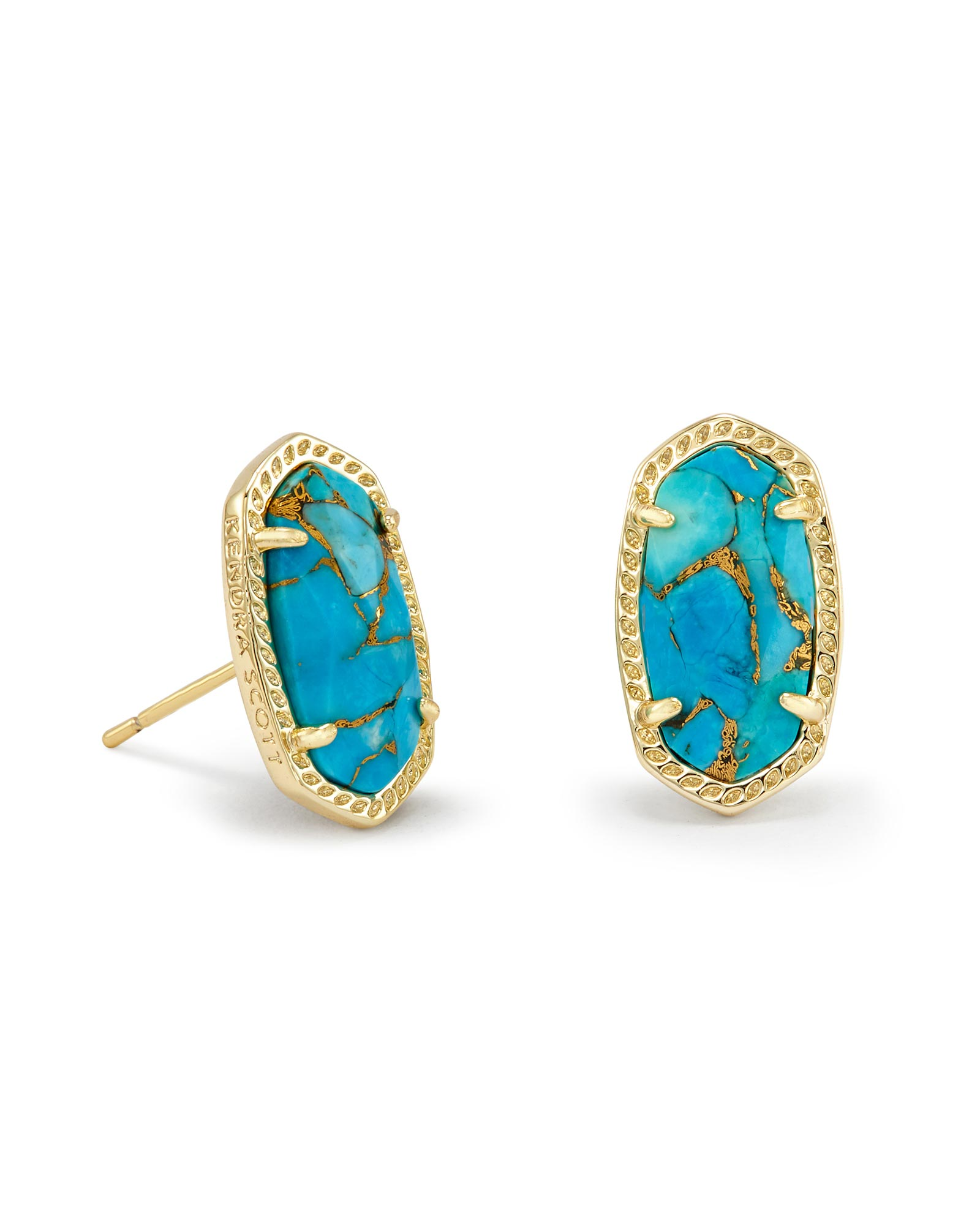 Ellie Stud Earrings in Bronze Veined Turquoise Magnesite