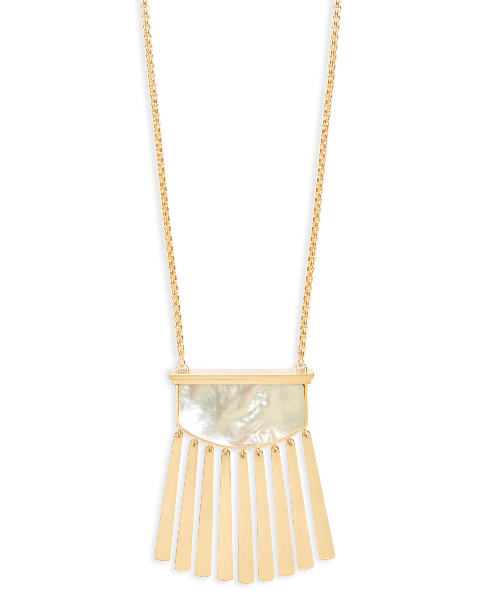 Ellen Long Pendant Necklace in Ivory Pearl