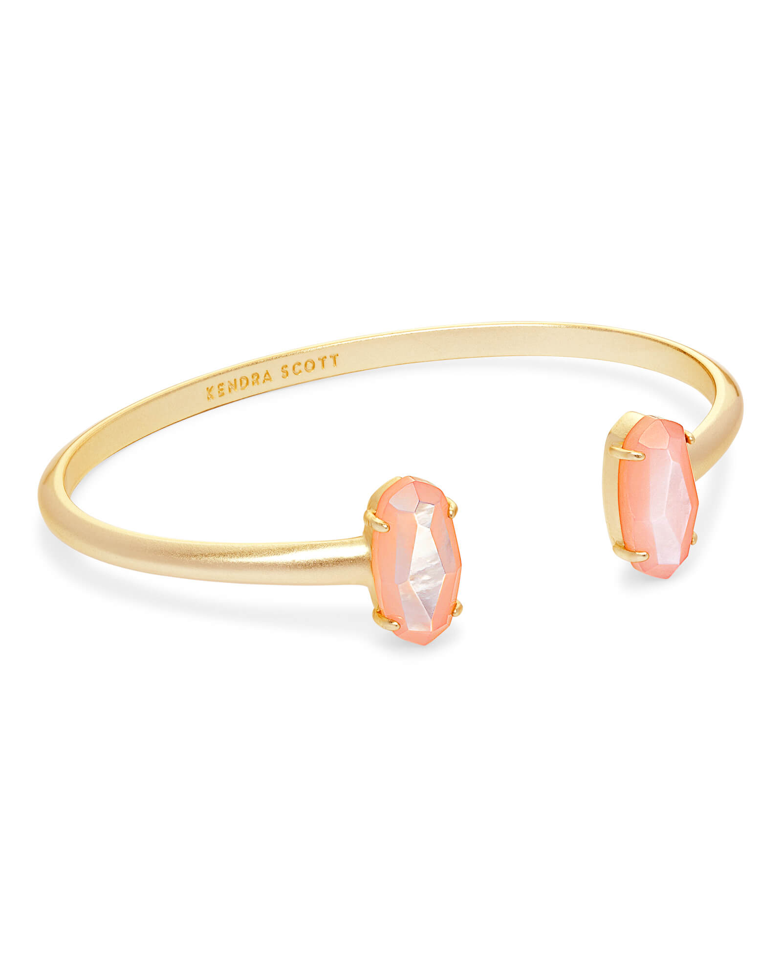 Edie Gold Cuff Bracelet in Peach Pearl