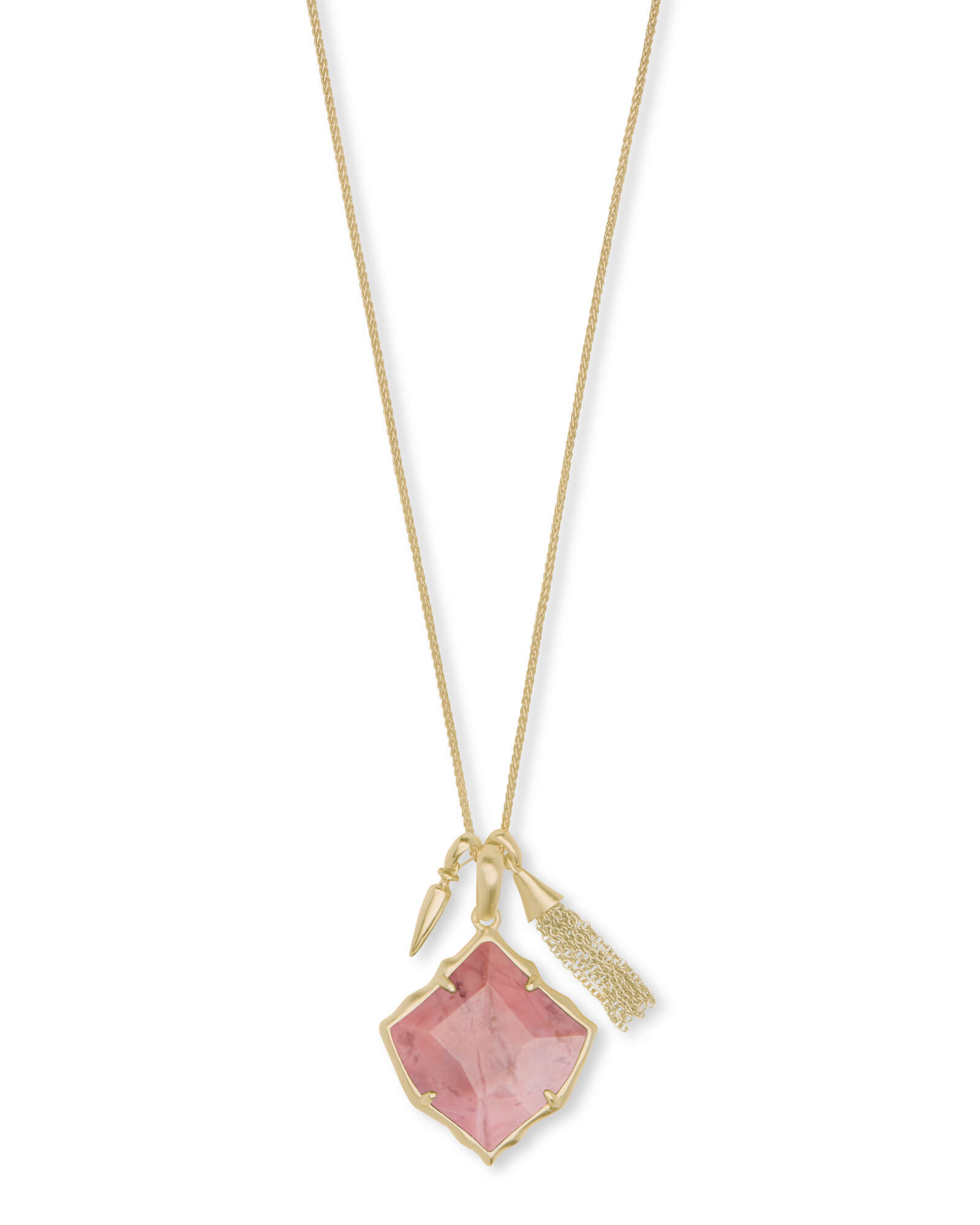 Arlet Gold Pendant Necklace in Pink Rhodonite