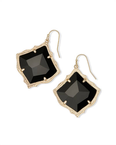 Kirsten Gold Drop Earring in Black Opaque Glass
