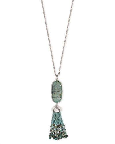 Eva Silver Long Pendant Necklace in African Turquoise