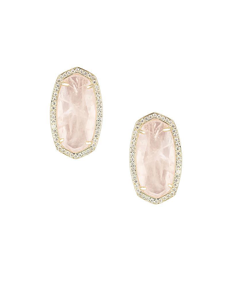 Elsie Stud Earrings In Rose Quartz