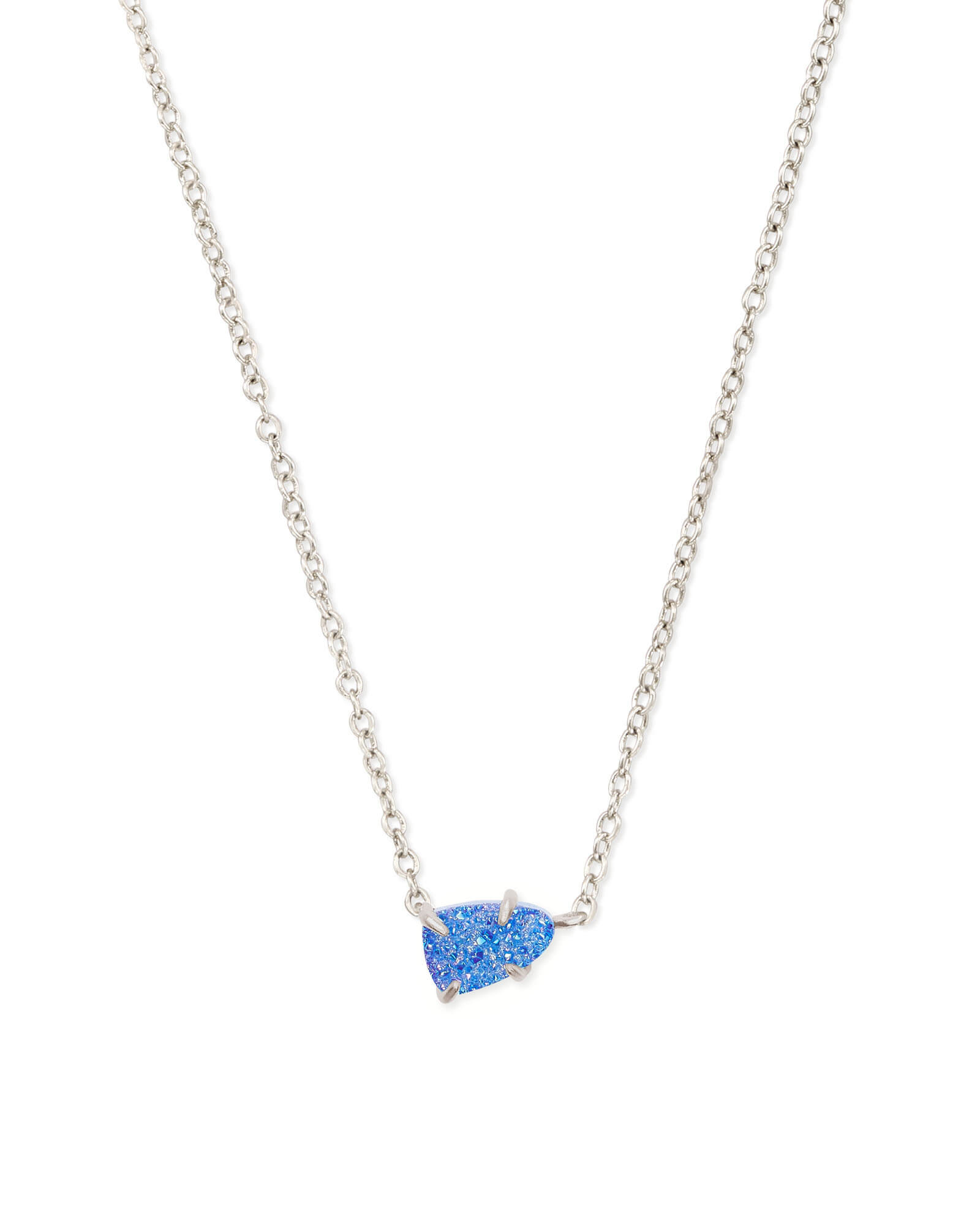 Helga Silver Pendant Necklace in Periwinkle Drusy