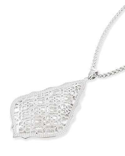 Aiden Silver Long Pendant Necklace in Silver Filigree