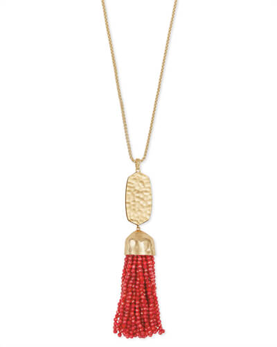 Monroe Gold Long Pendant Necklace in Red Pearl