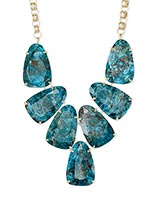 Harlow Gold Statement Necklace In Aqua Apatite