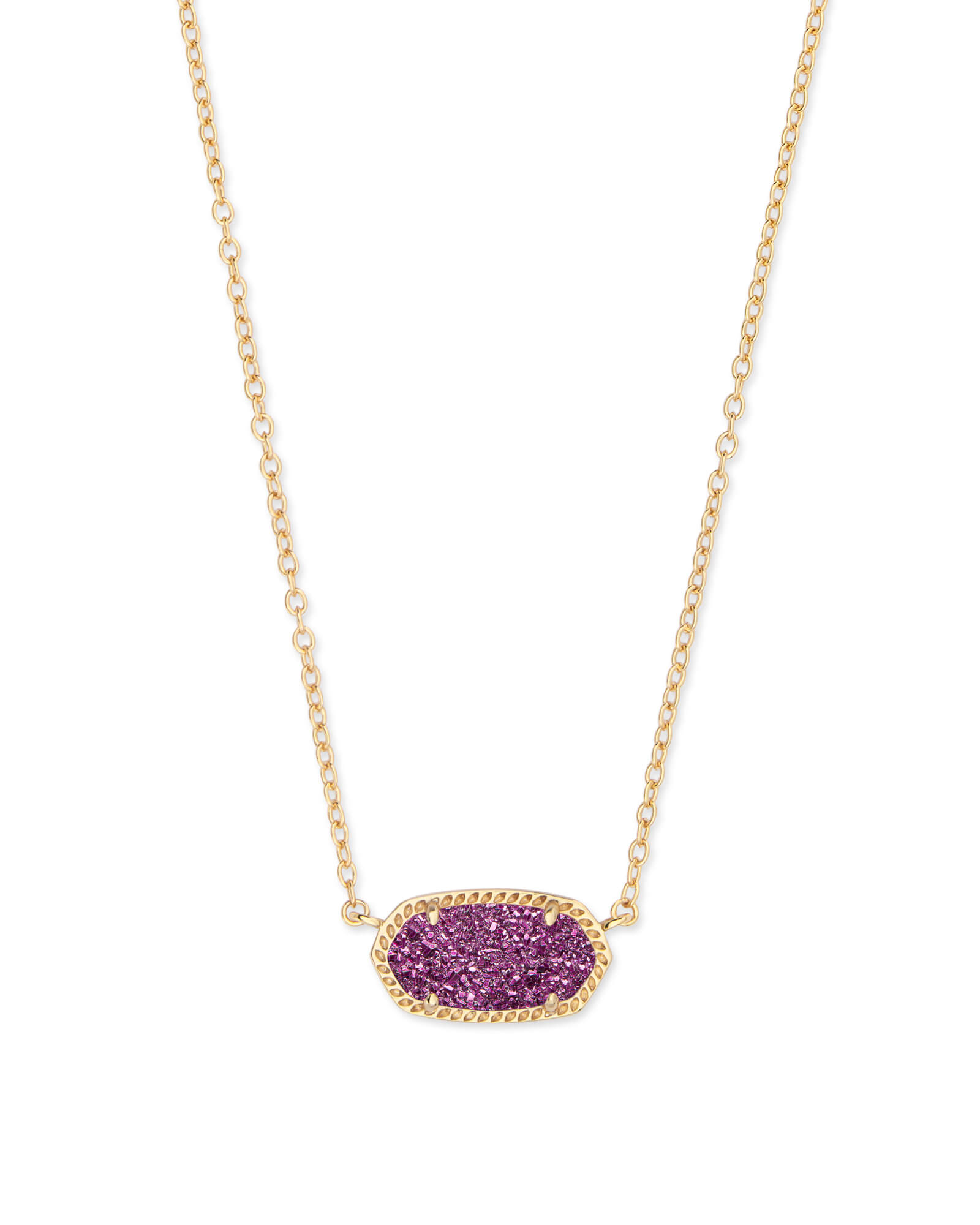 Elisa Gold Pendant Necklace in Amethyst Drusy