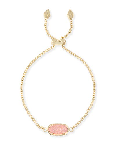 Elaina Adjustable Chain Bracelet in Light Pink Drusy