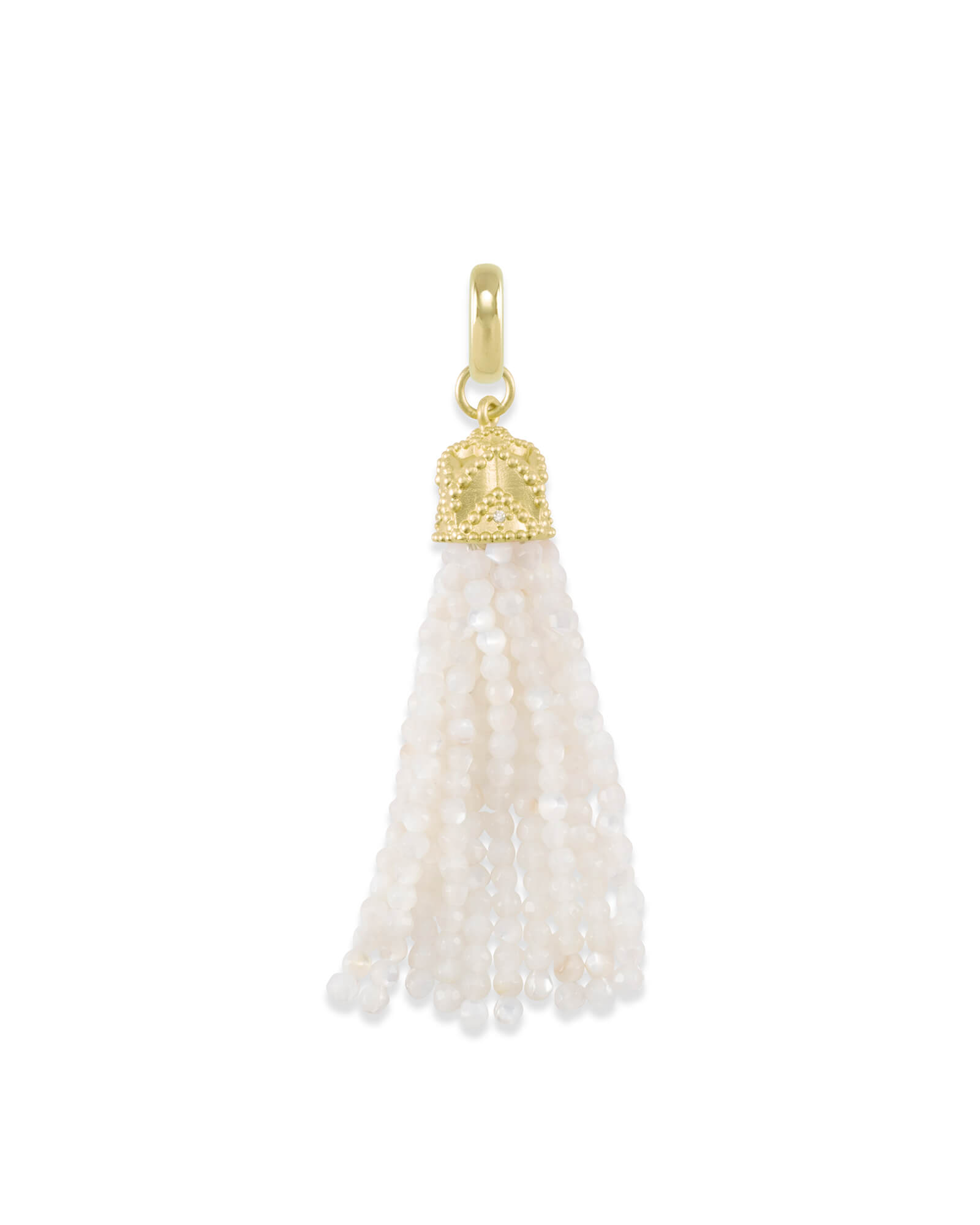 Beaded Gold Tassel Charm in Ivory Pearl