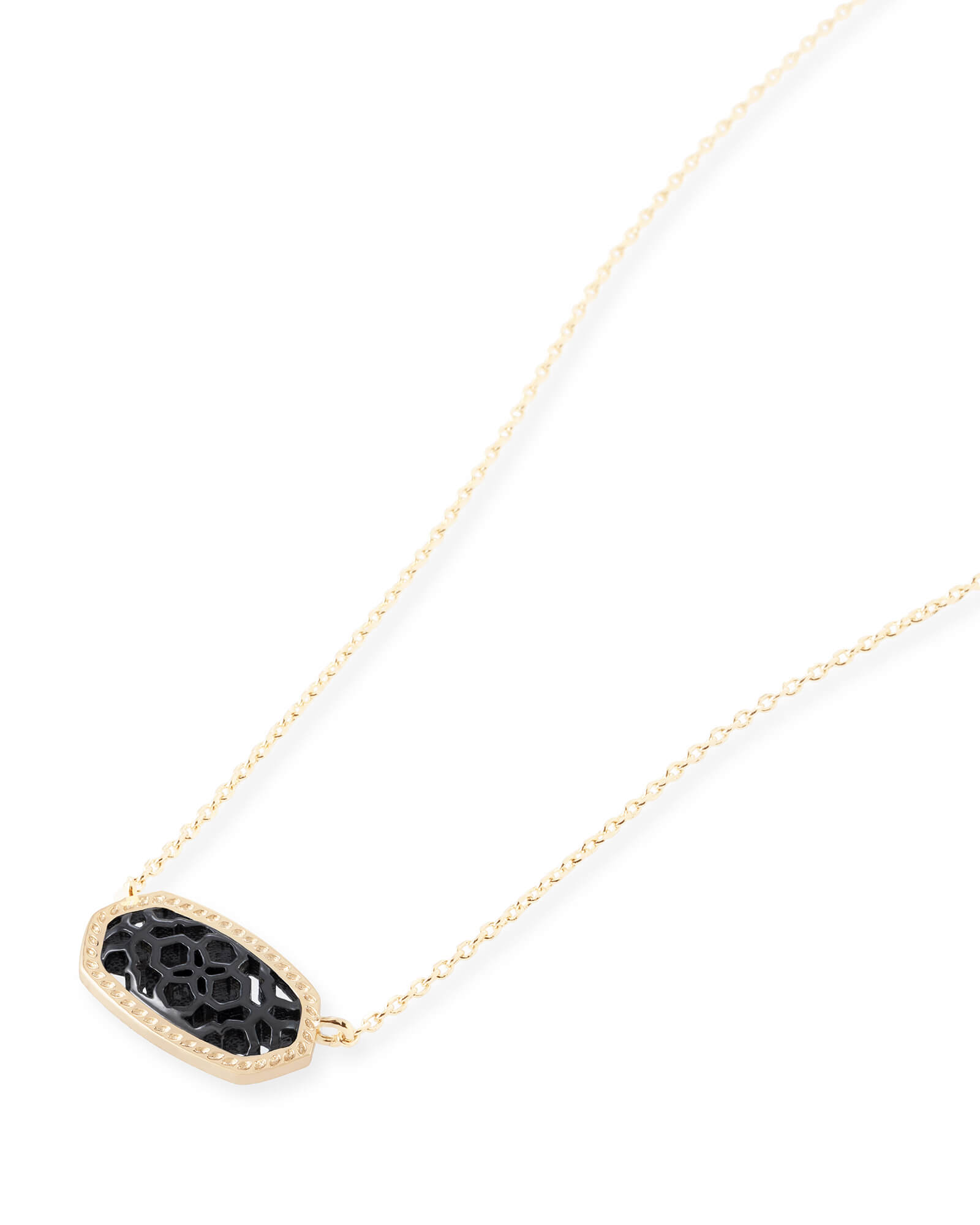 Elisa Gold Pendant Necklace in Gunmetal Filigree