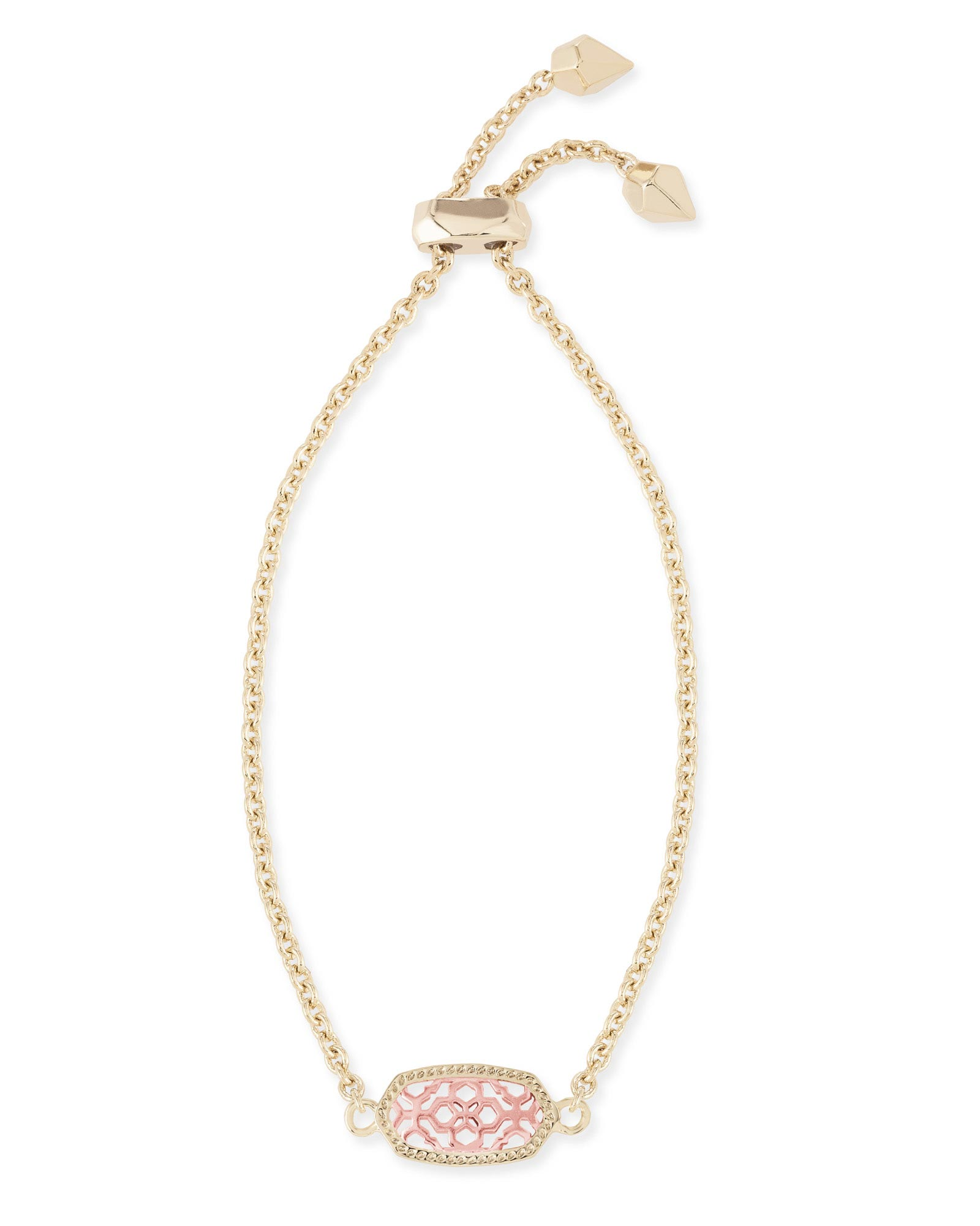 Elaina Gold Adjustable Chain Bracelet in Rose Gold Filigree