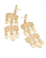 Emmet Gold Statement Earrings in Gold Filigree