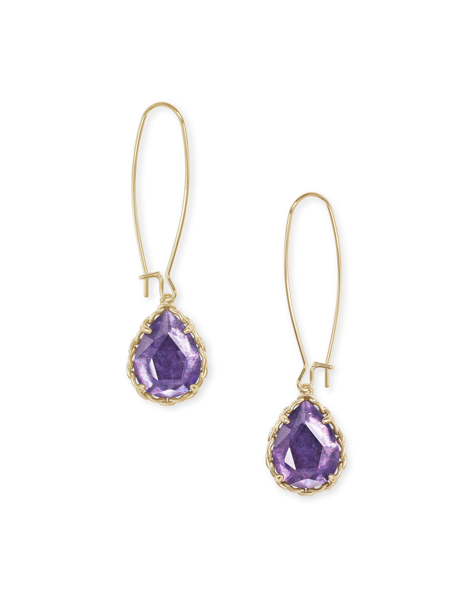 Macrame Dee Gold Drop Earrings in Purple Mica