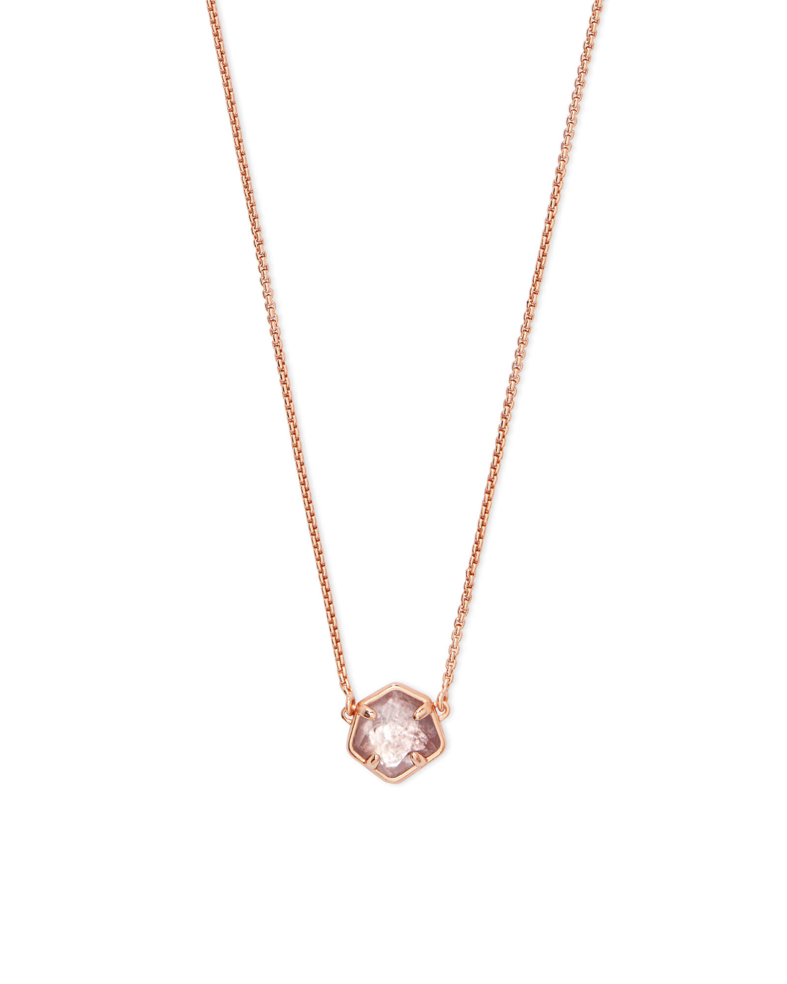 Jaxon Rose Gold Pendant Necklace in Sable Mica