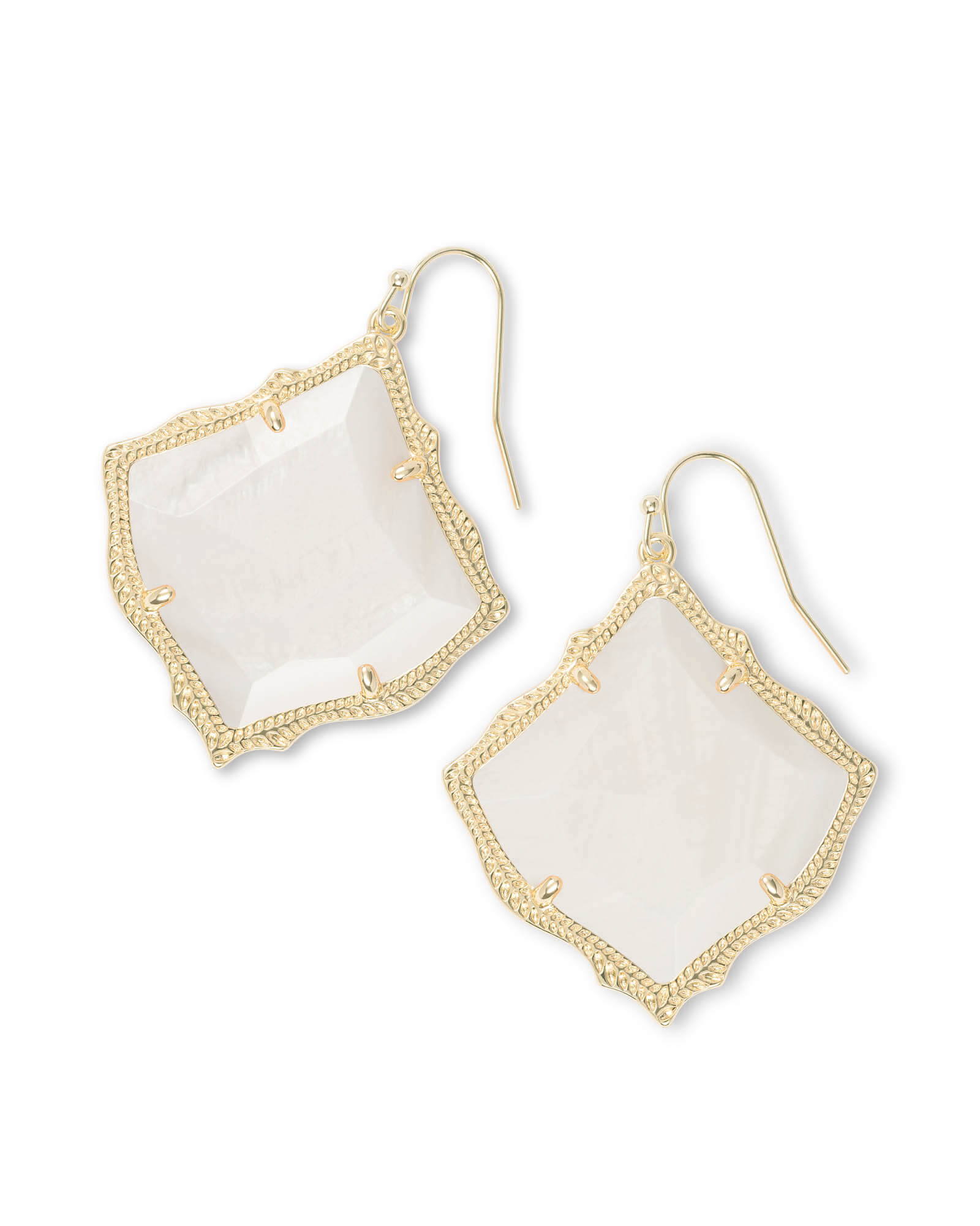 Kirsten Gold Drop Earrings in White Pearl