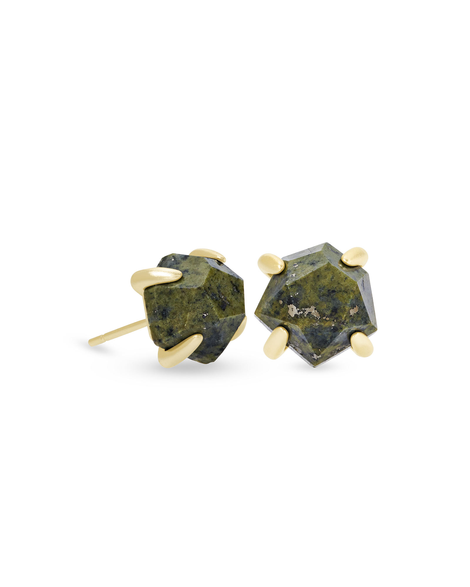 Ellms Gold Stud Earrings in Olive Epidote