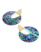 Diane Gold Statement Earrings in Abalone Shell