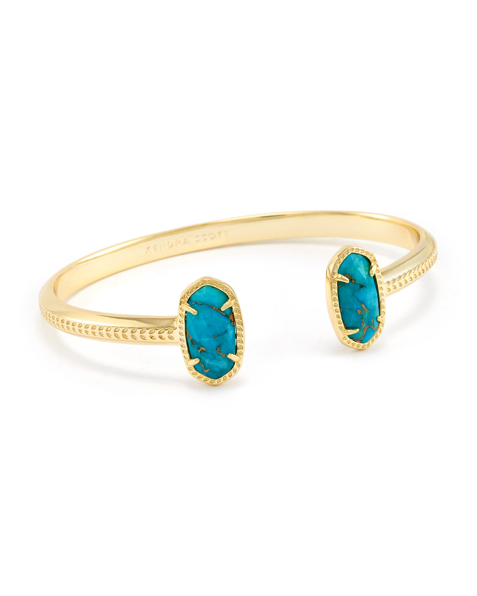 Elton Pinch Bracelet In Bronze Veined Turquoise