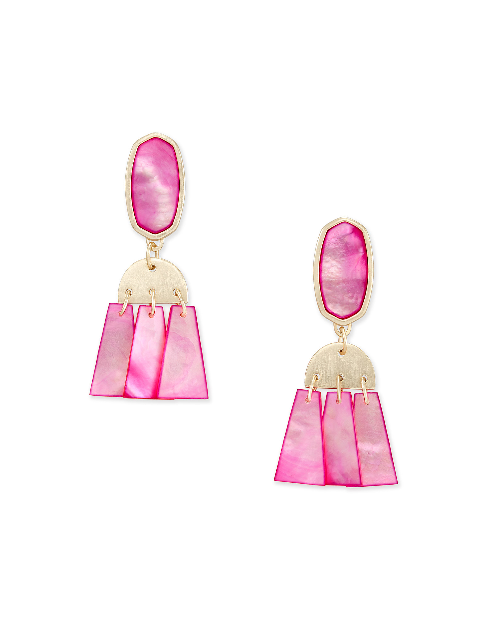 Noah Gold Statement Earrings in Magenta Mother-of-Pearl