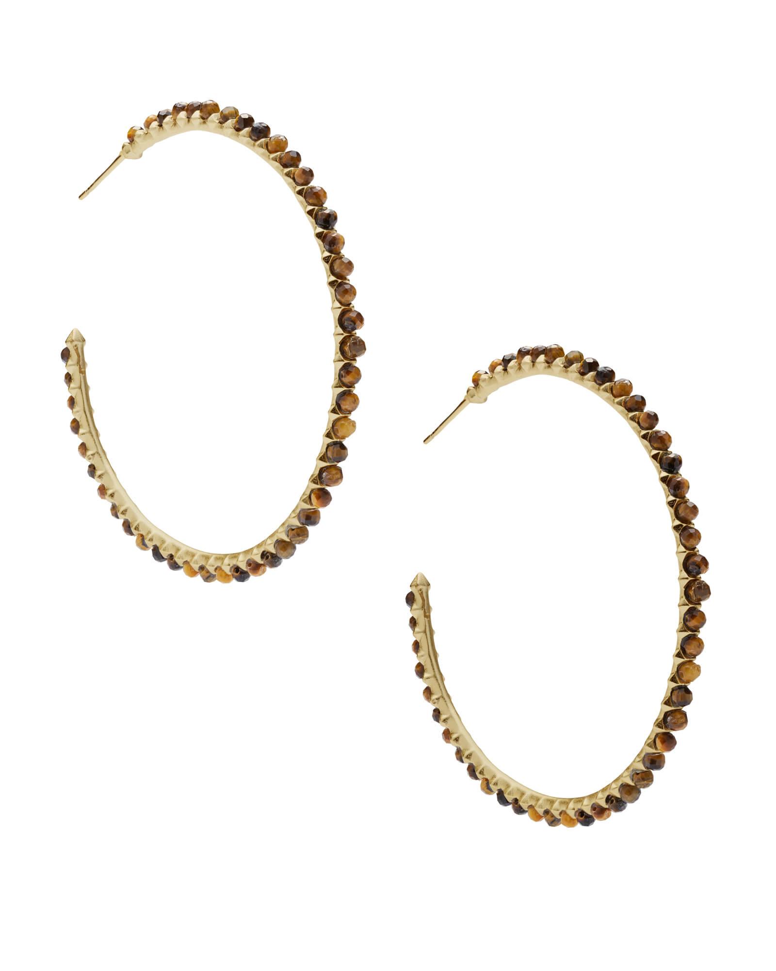 Bir Gold Hoop Earrings In Brown Tigers Eye