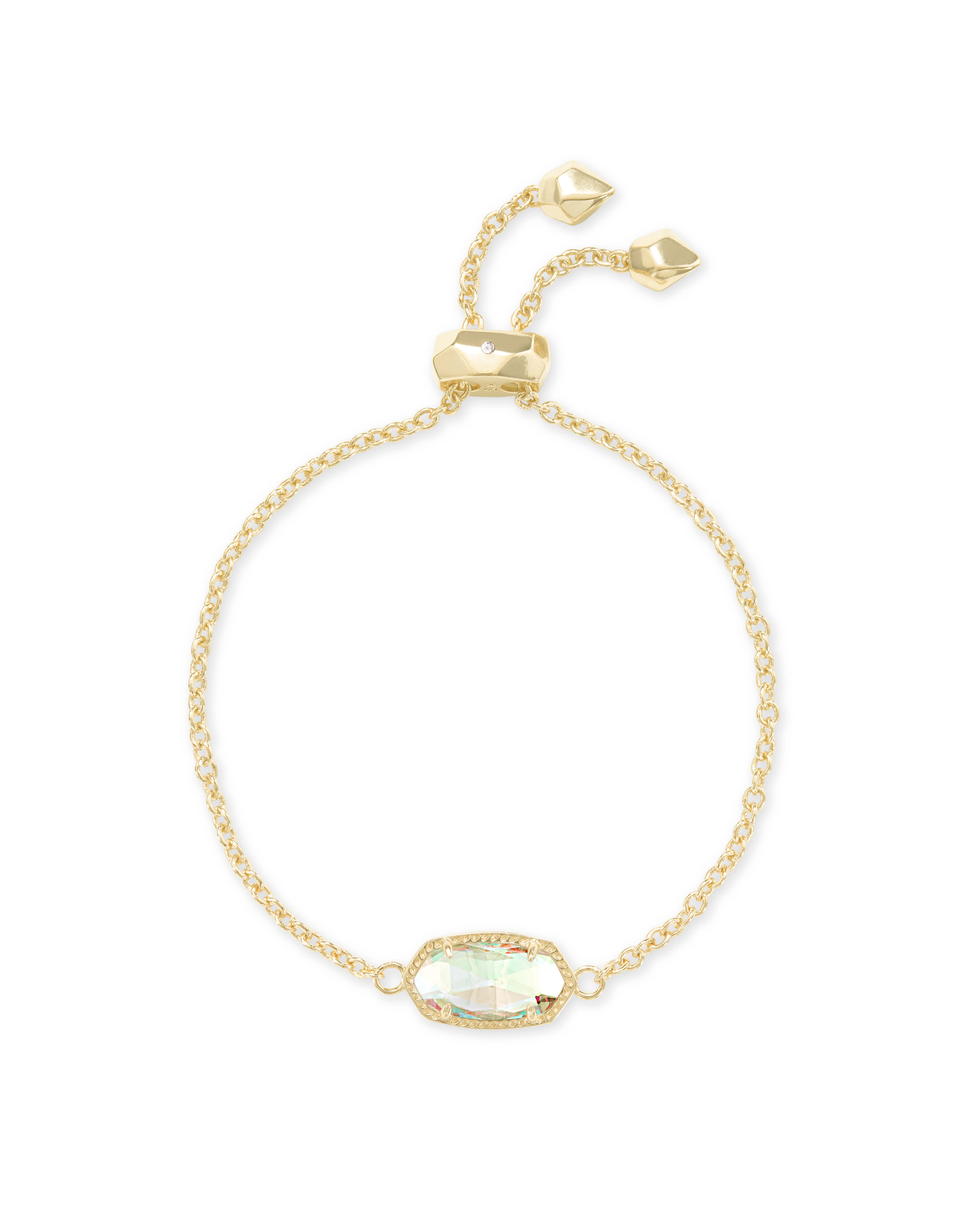 Elaina Gold Adjustable Chain Bracelet in Dichroic Glass