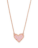 Ari Heart Rose Gold Short Pendant Necklace in Pink Drusy
