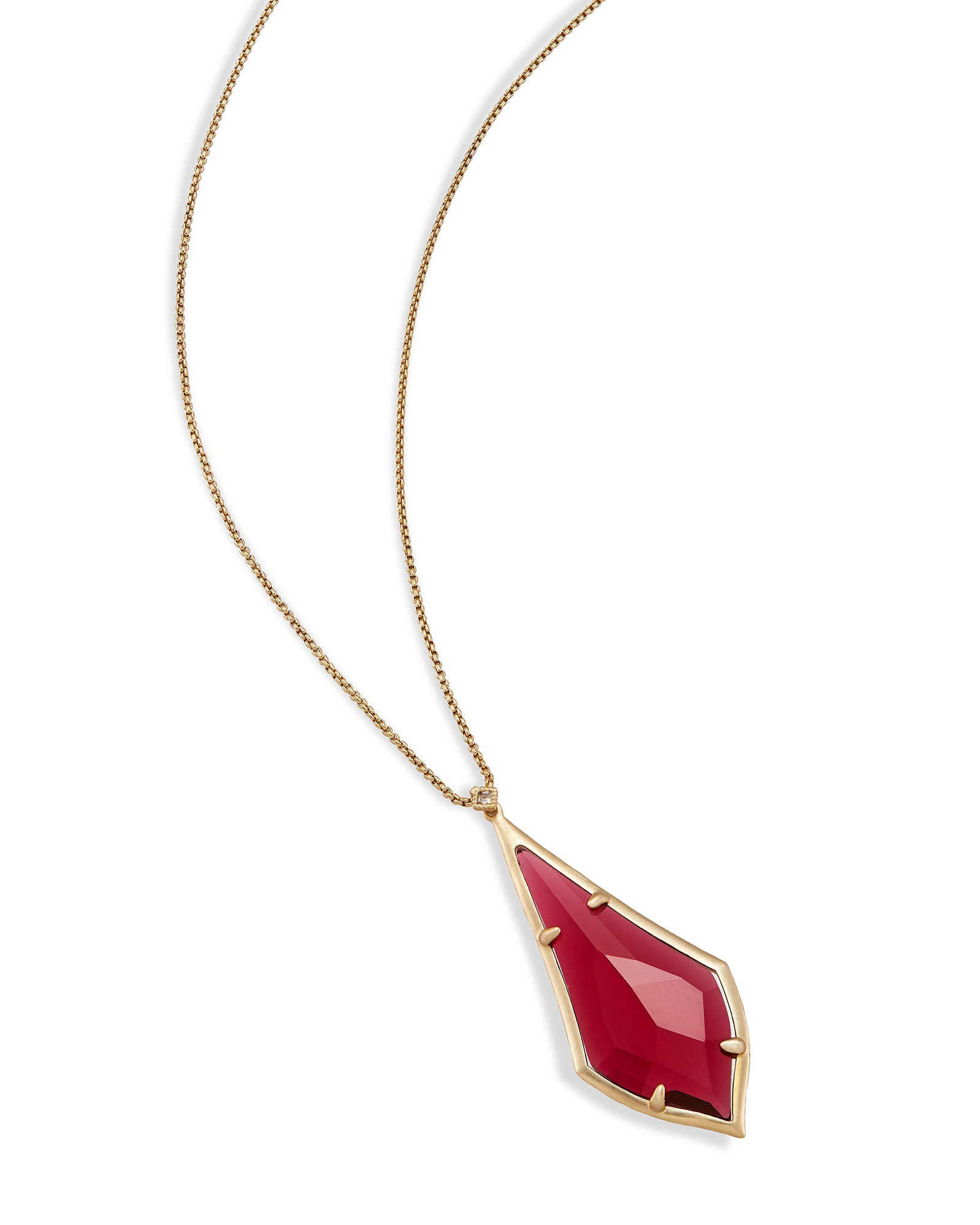 Damon Long Pendant Necklace in Berry Glass
