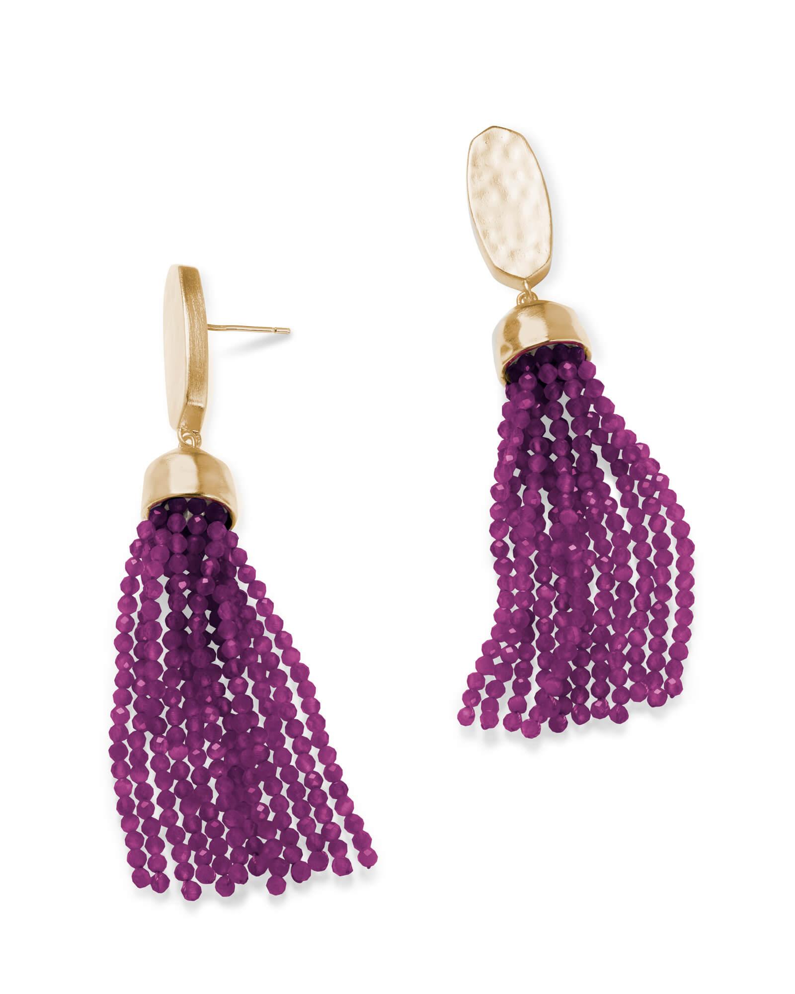 Marin Gold Statement Earrings In Purple Jade