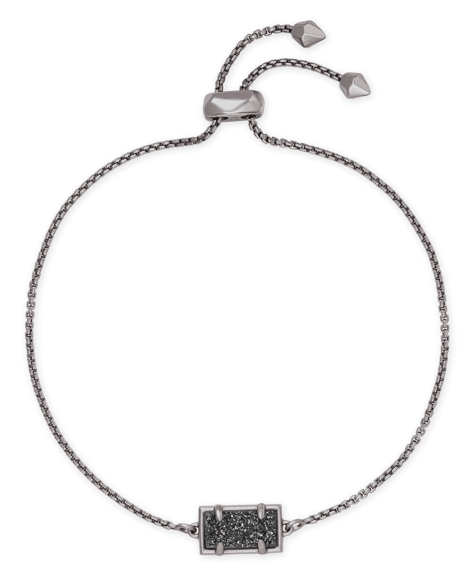 Phillipa Gunmetal Chain Bracelet in Black Drusy