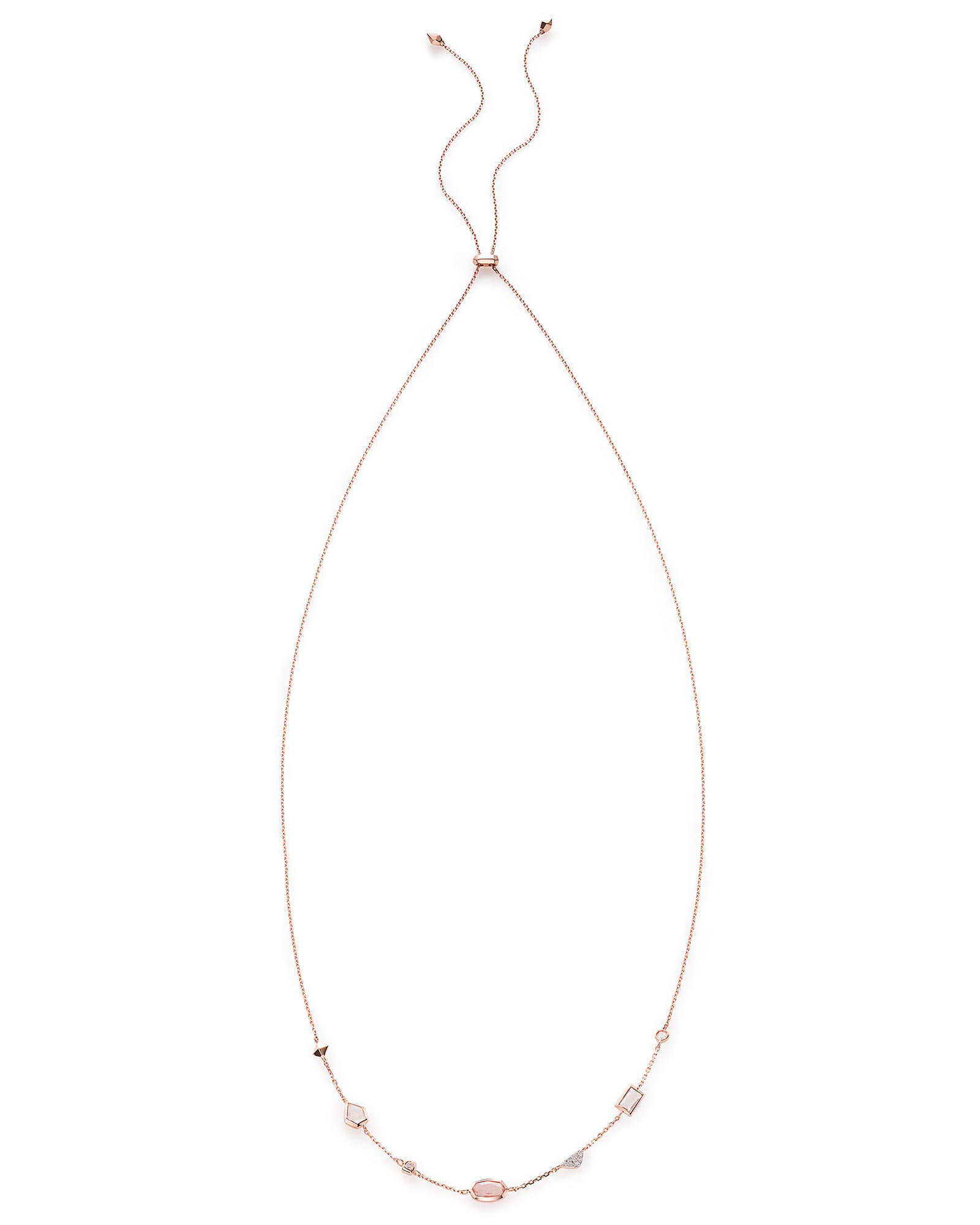 Alina Choker Necklace in Neutral Gemstone Mix and 14k Rose Gold