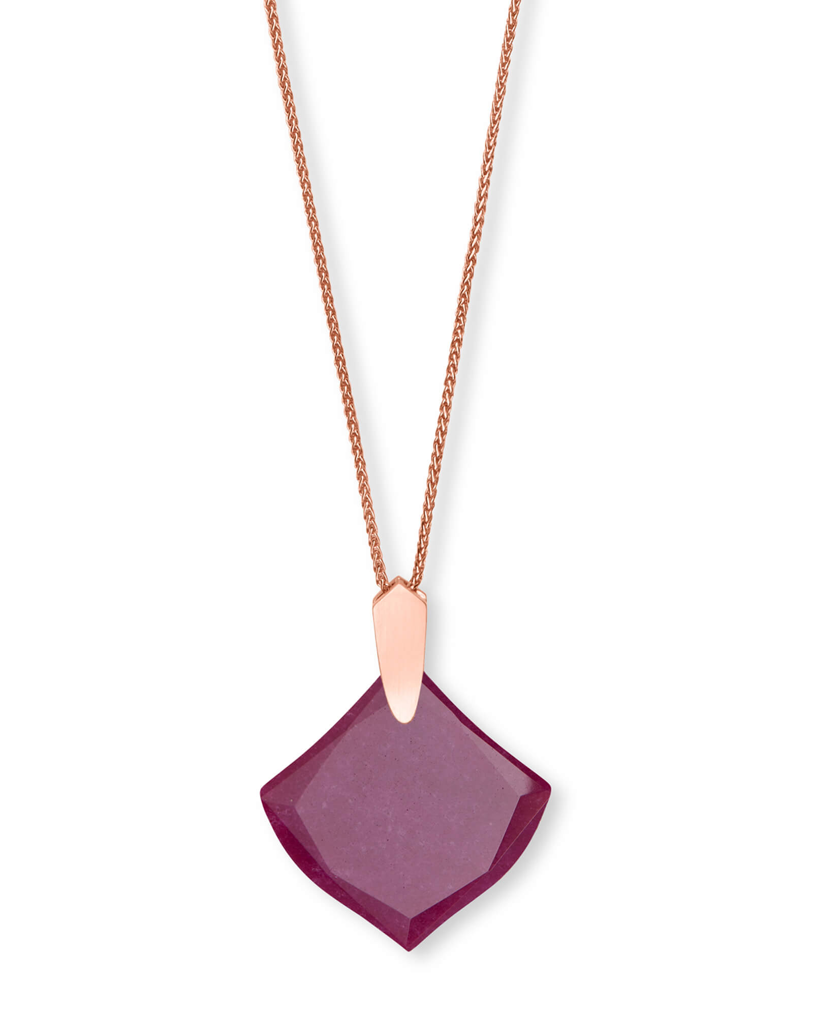 Aislinn Rose Gold Long Pendant Necklace in Maroon Jade