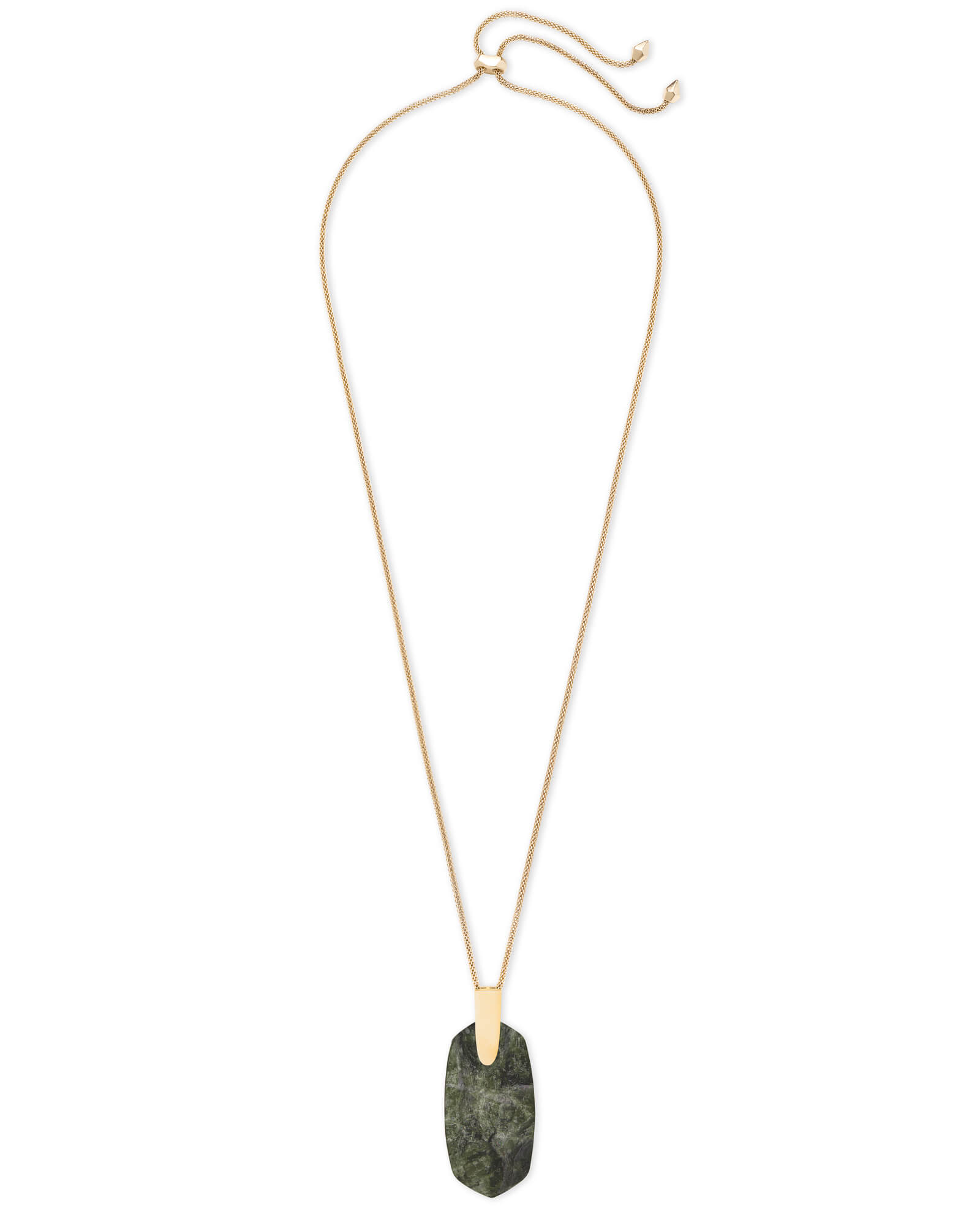 Inez Gold Long Pendant Necklace In Sage Mica