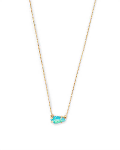 Jayde Gold Pendant Necklace in Turquoise Kyocera Opal