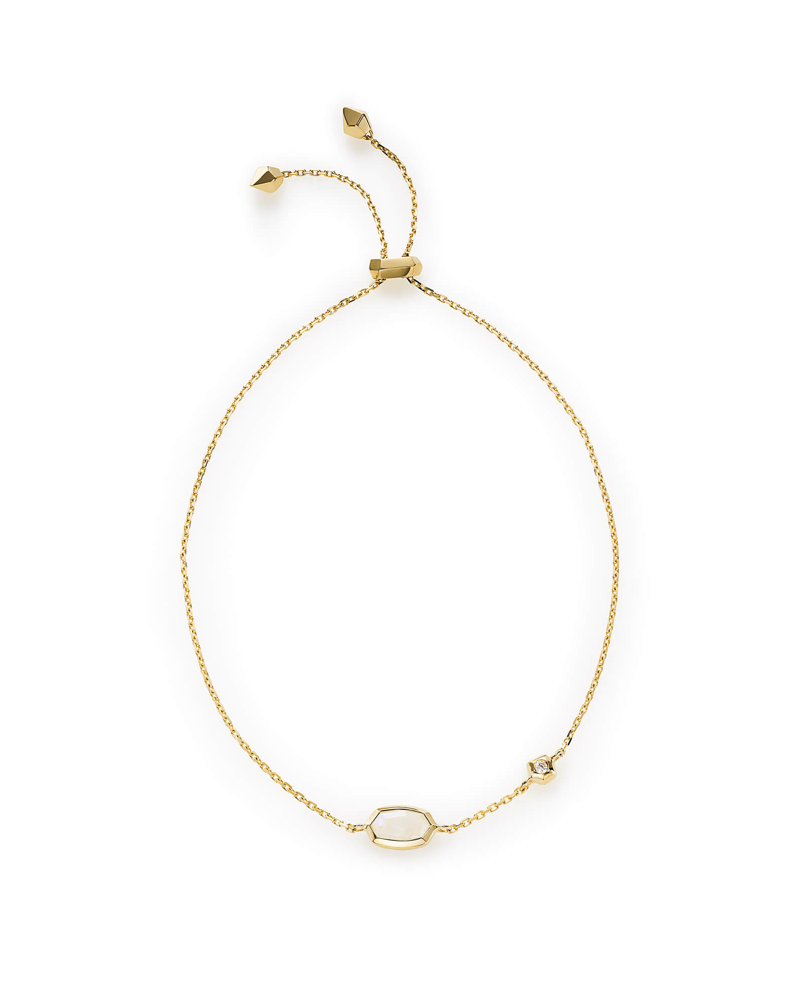 Benson Adjustable Bracelet in Rainbow Moonstone and 14k Yellow Gold