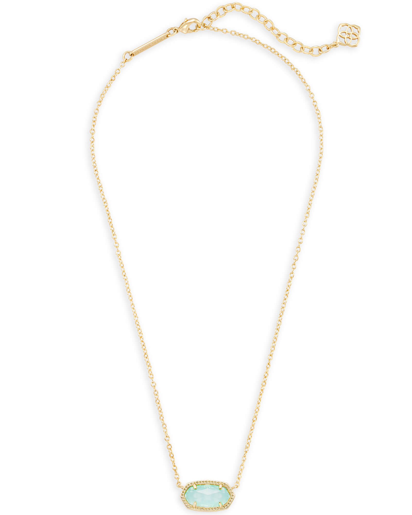 Elisa Gold Pendant Necklace in Chalcedony Glass