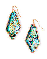 Emilia Rose Gold Drop Earrings in Abalone Shell