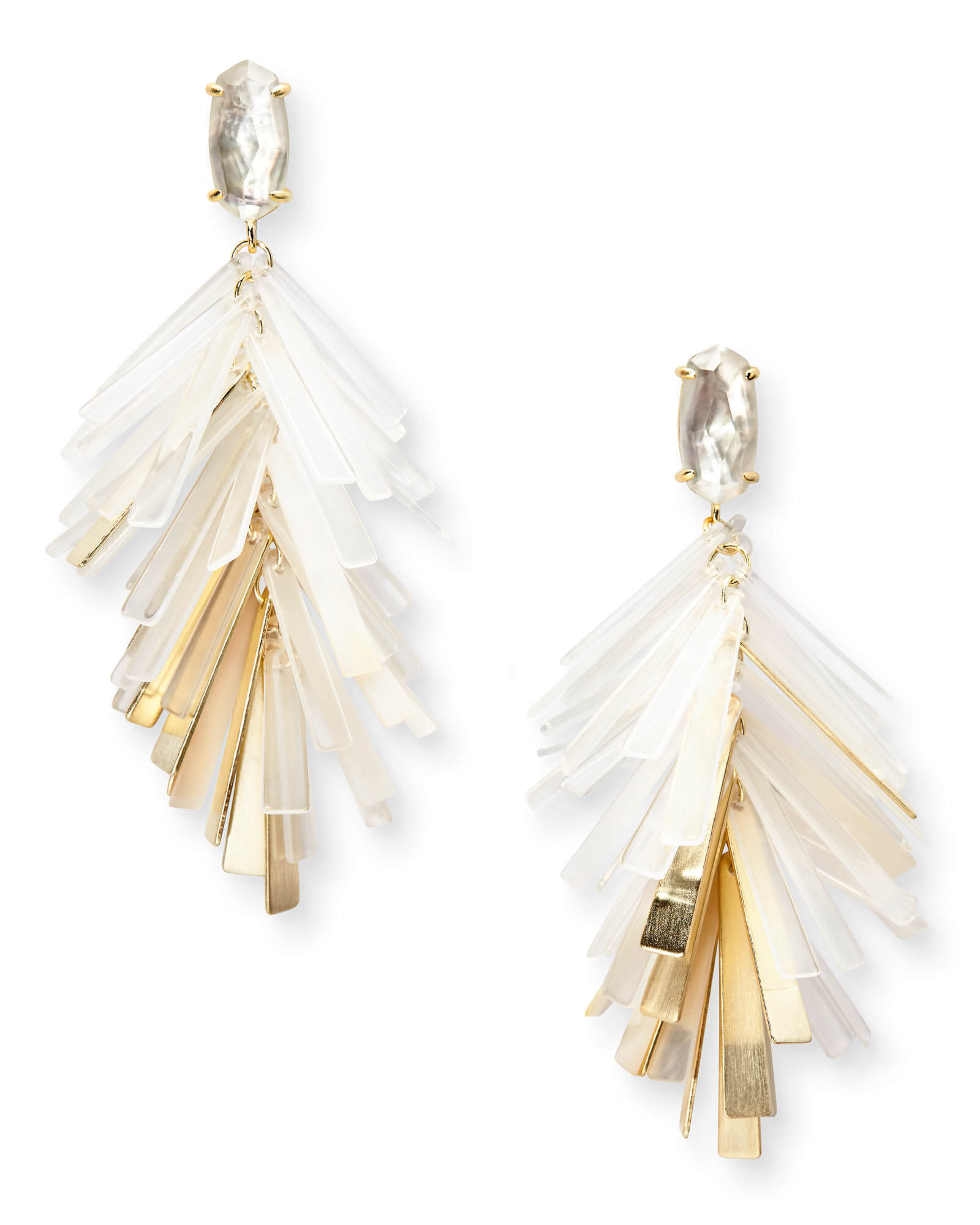 Jasper Gold Statement Earrings in Ivory Mix