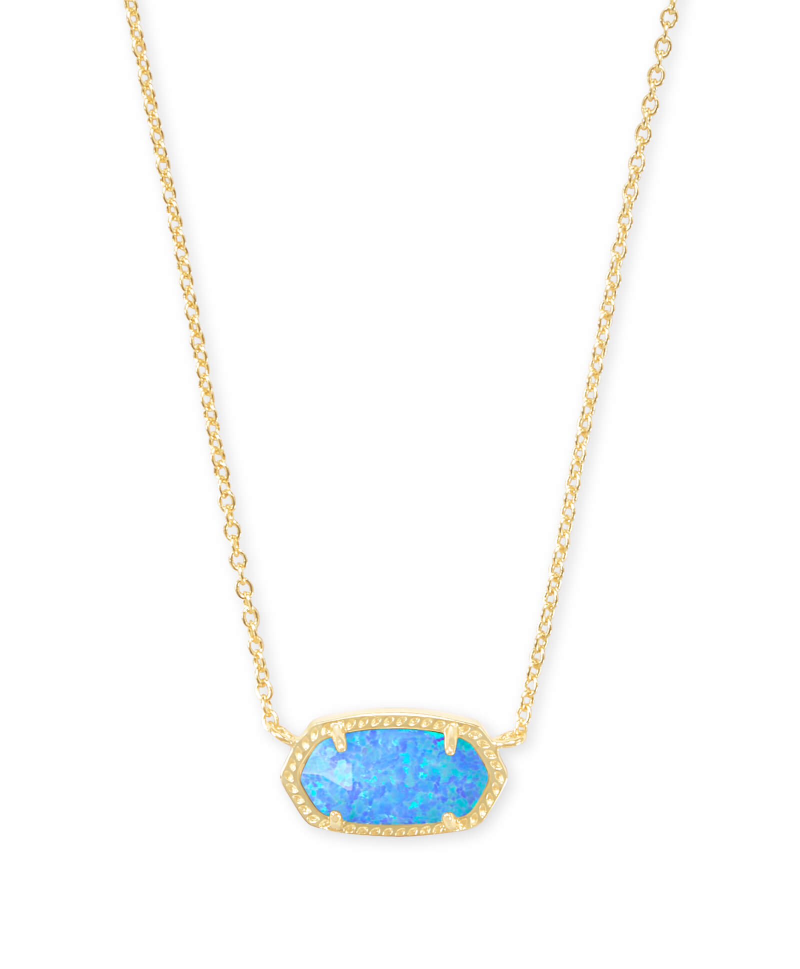Elisa Gold Pendant Necklace in Ocean Kyocera Opal