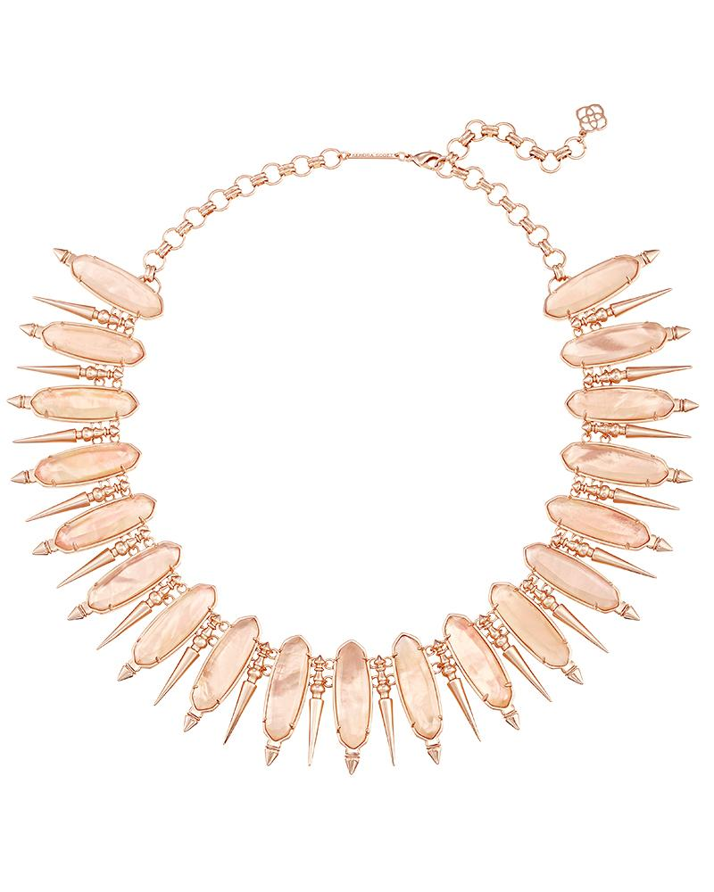 Gwendolyn Statement Necklace in Peach Illusion