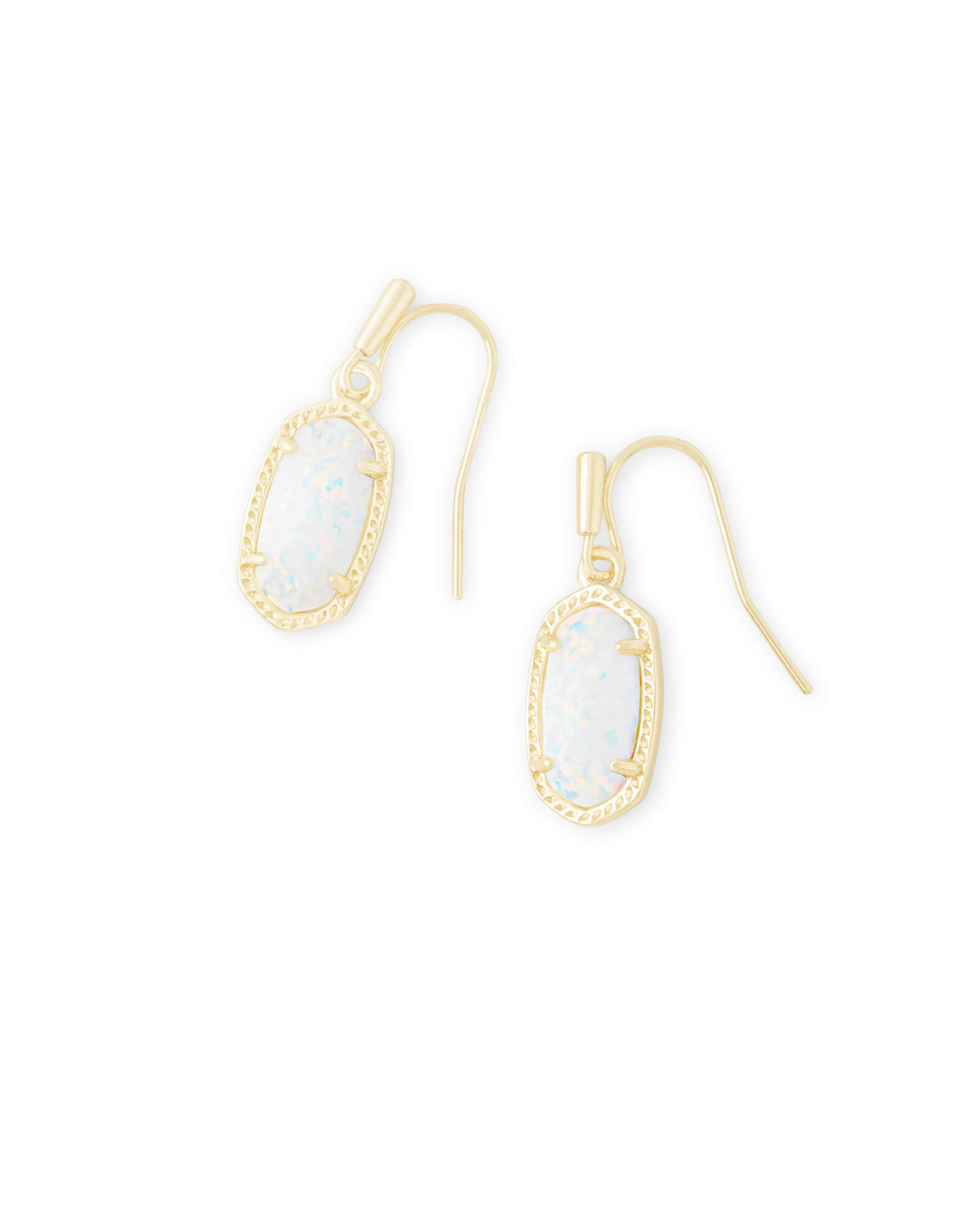 Lee Gold Drop Earrings in White Kyocera Opal