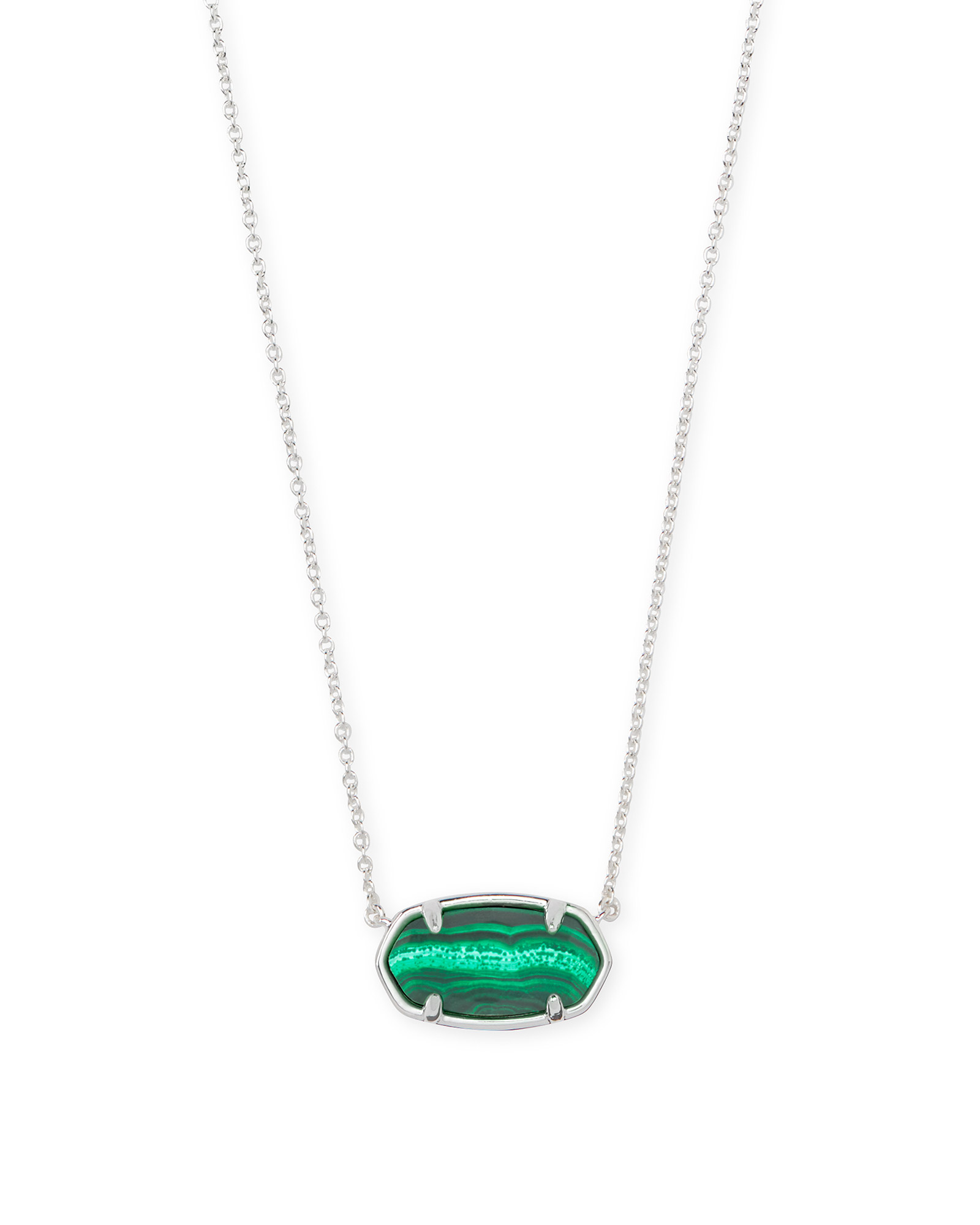 Elisa Sterling Silver Pendant Necklace in Green Malachite